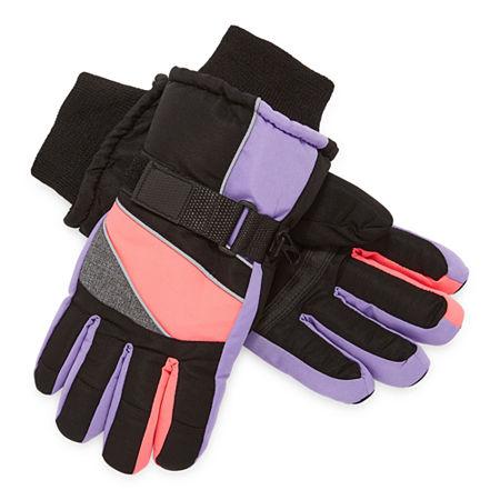 WinterProof Little & Big Girls Cold Weather Gloves, Medium-large , Black