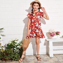 Girls Floral Print Ruffle Trim Dress