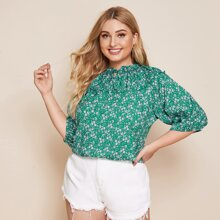 Plus Ditsy Floral Tie Neck Blouse
