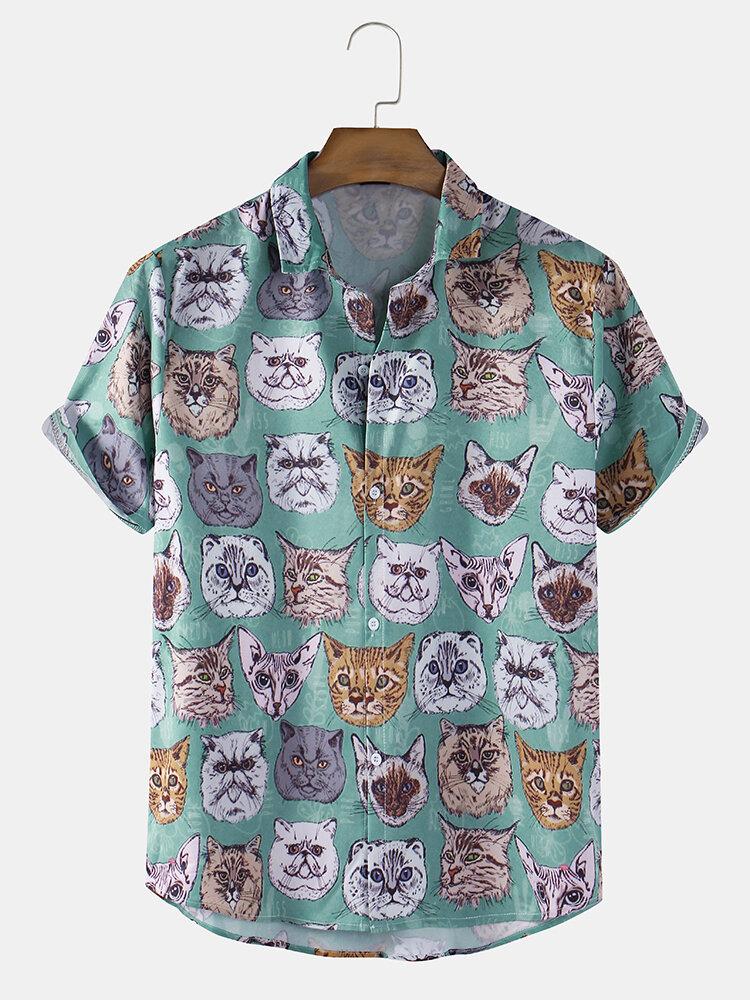 Men Fun Creative Cat Print Casual Curved Hem Shirt