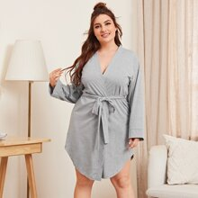 Plus Solid Belted Drop Shoulder Robe