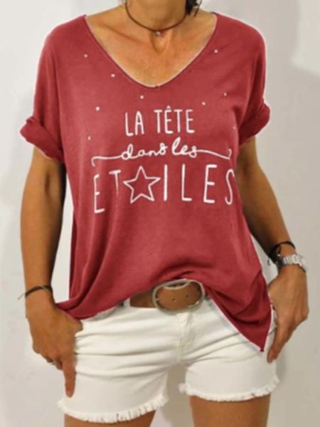 Milanoo Playeras de manga corta Camiseta de mujer de poliester con cuello en V celeste claro
