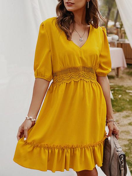 Milanoo Summer Dress V Neck Lace Insert Beach Dress