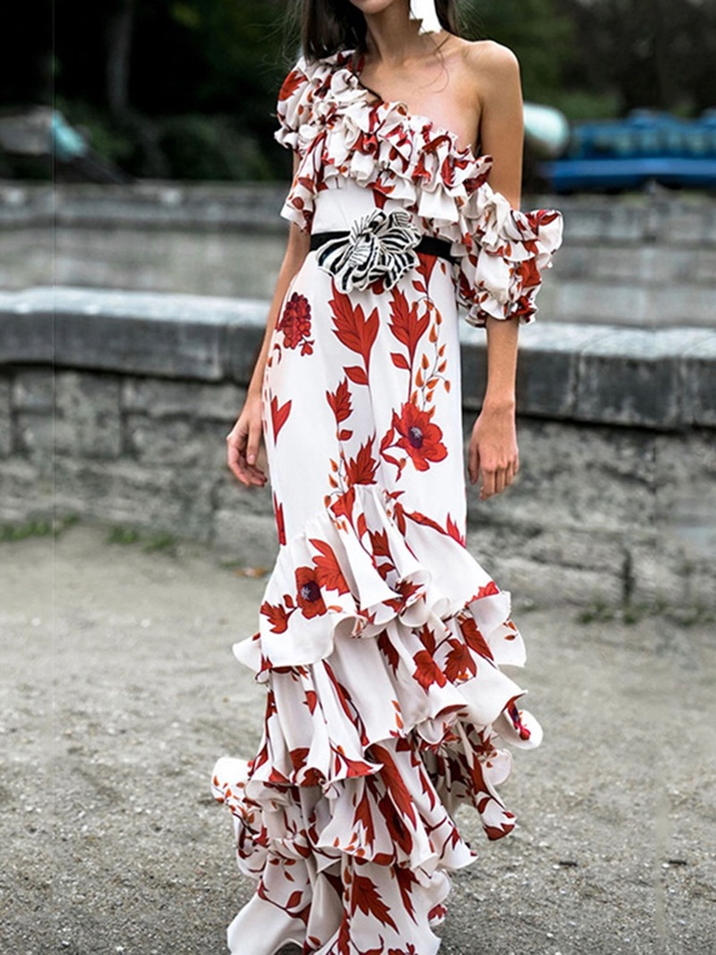 Ericdress Short Sleeve Oblique Collar Floor-Length Print Mid Waist Dress