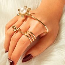 Faux Pearl & Leaf Decor Spiral Ring 1pc
