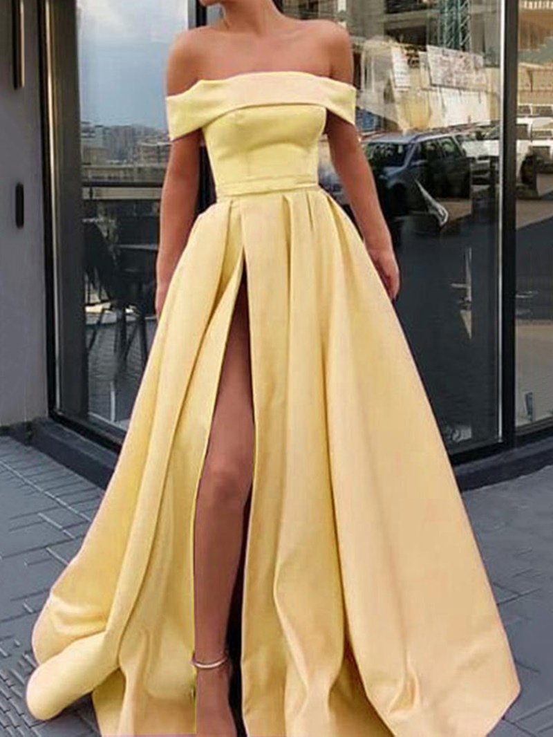 Ericdress Split-Front Floor-Length Off-The-Shoulder A-Line Celebrity Dress 2020