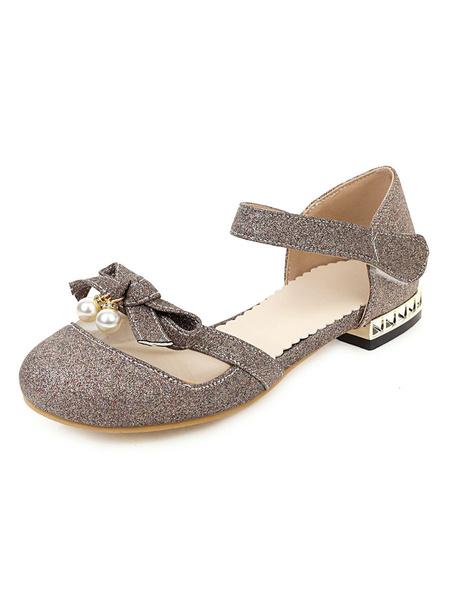 Milanoo Women\'s Sandals Puppy Heel Pearls Sandals Chic Slip-On Round Toe Plus Size Pink Sandals