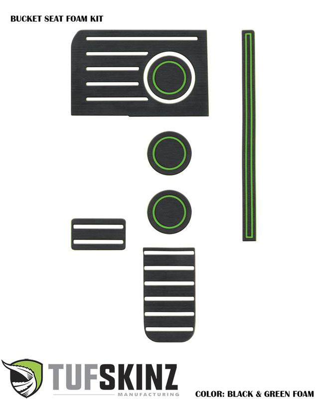 Tufskinz TUN003-FGN-X Interior Cup Holder Inserts Fits 14-up Toyota Tundra W/Bucket Seats 7 Piece Kit Black/Green