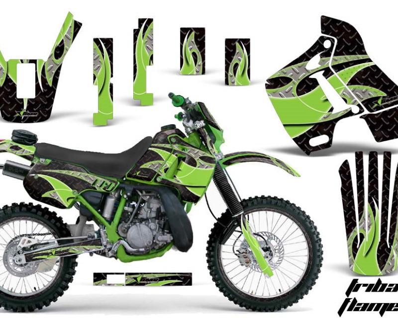 AMR Racing Graphics MX-NP-KAW-KDX200-89-94-TF G K Kit Decal Sticker Wrap + # Plates For Kawasaki KDX200 1989-1994 TRIBAL GREEN BLACK