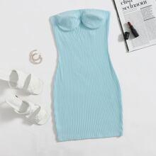 Rib-knit Bustier Tube Dress