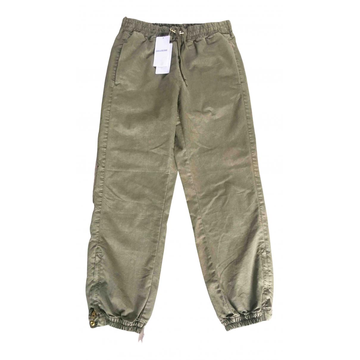 Zadig & Voltaire N Khaki Cotton Trousers for Women 38 FR