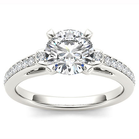 1 CT. T.W. Round White Diamond 14K Gold Engagement Ring, 6 , No Color Family
