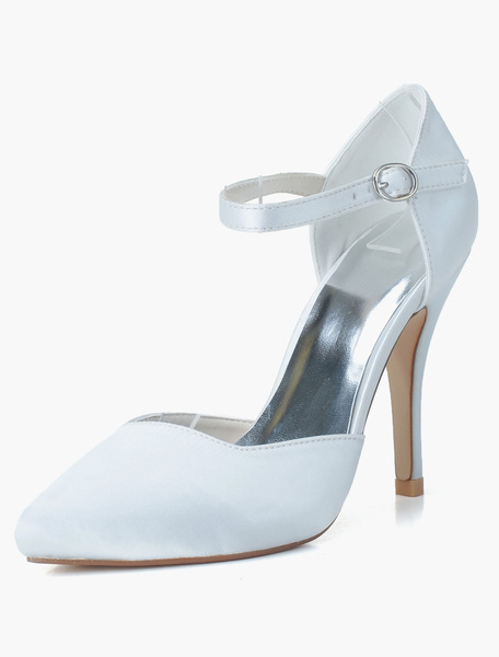 Milanoo Zapatos de novia de saten Zapatos de Fiesta de tacon de stiletto Zapatos blanco  Zapatos de boda de puntera puntiaguada 10.5cm 1cm