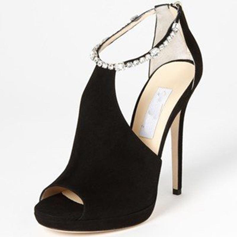 Ericdress Rhinestone Ankle Strap Peep Toe Stiletto Sandals