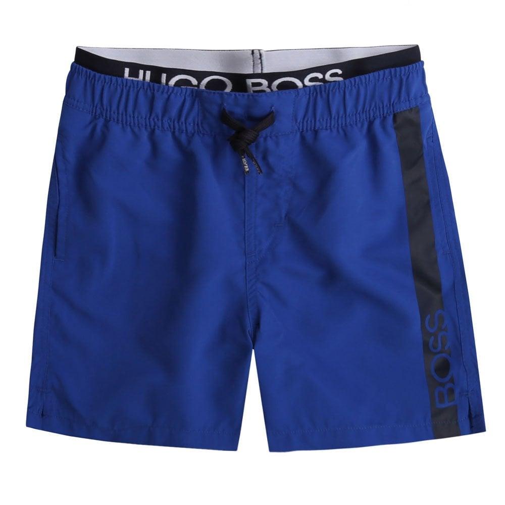 Hugo Boss Kids Waist Logo Swimshorts Colour: BLUE, Size: 16 YEARS
