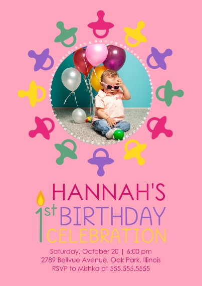 1st Birthday Invitations Flat Matte Photo Paper Cards with Envelopes, 5x7, Card & Stationery -1st Birthday Pacifiers - Girl