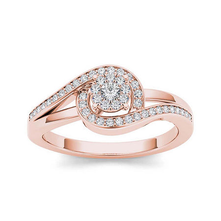 1/5 CT. T.W. Diamond Swirl 10K Rose Gold Engagement Ring, 7 1/2 , No Color Family