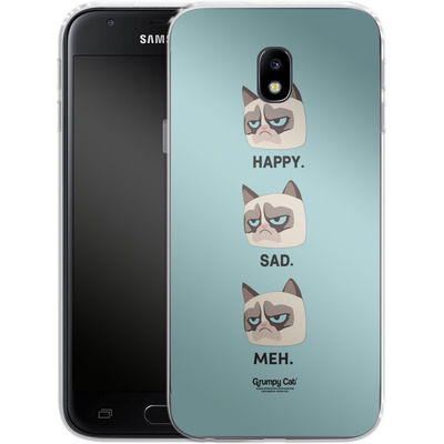 Samsung Galaxy J3 (2017) Silikon Handyhuelle - Facial Expressions von Grumpy Cat