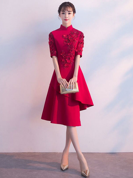 Milanoo Burgundy Cocktail Dresses Stand Collar Half Sleeve Asymmetrical A Line Party Dress