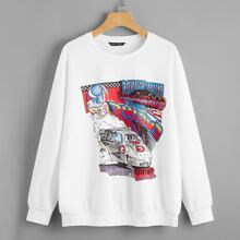Pullover mit sehr tief angesetzter Schulterpartie, Auto & Buchstaben Grafik