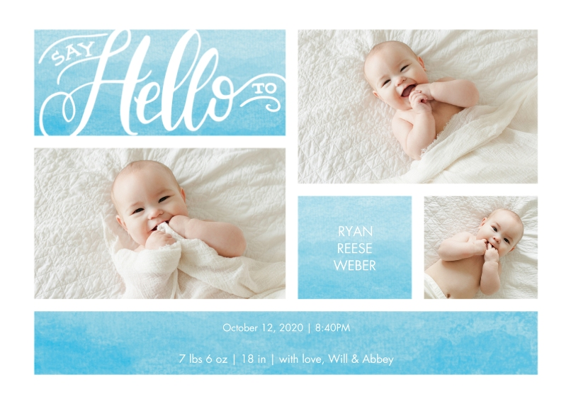 Baby Announcements Flat Matte Photo Paper Cards with Envelopes, 5x7, Card & Stationery -Baby Watercolor Hello by Tumbalina