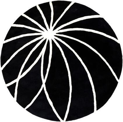 Forum FM-7072 4 Round Modern Rug in Black