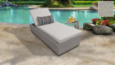 Monterey Collection MONTEREY-1x-ST-ASH Patio Set with 1 Chaise   1 Side Table - Beige and Ash