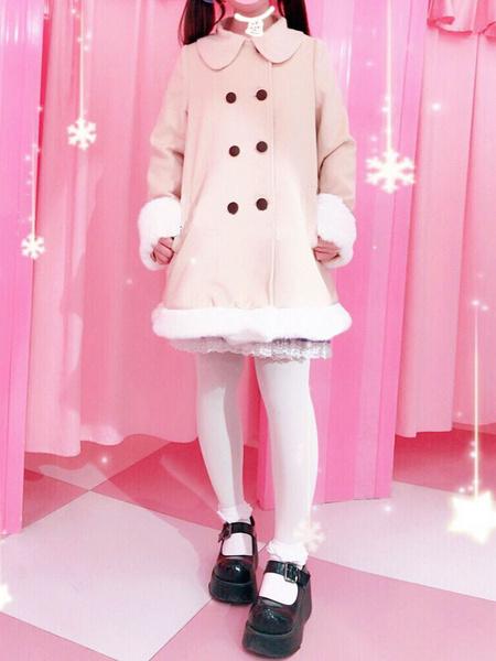 Milanoo Sweet Lolita Outfits Wool Khaki Long Sleeve Bows Pea Coat With Cape