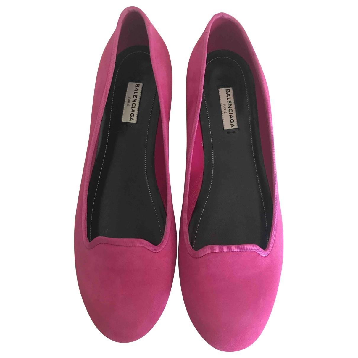 Balenciaga \N Pink Suede Ballet flats for Women 40 EU