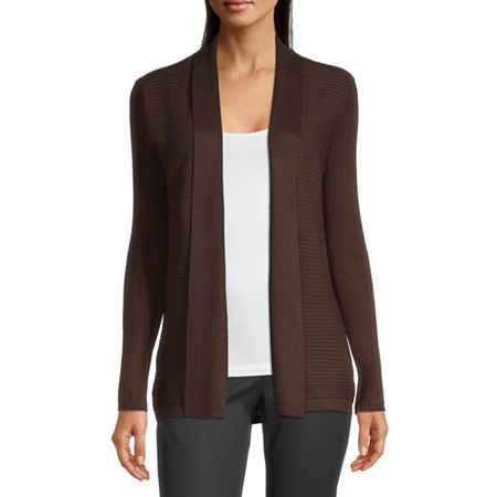 Liz Claiborne Womens Ribbed Open Cardigan, X-large , Brown