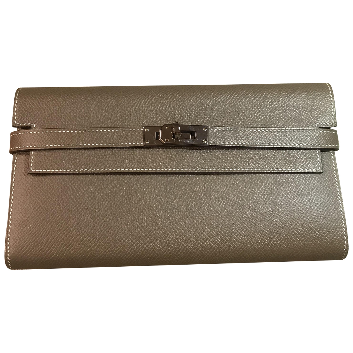 Hermes - Portefeuille Kelly pour femme en cuir - gris