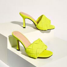 Neon Lime Braided Stiletto Heeled Mules