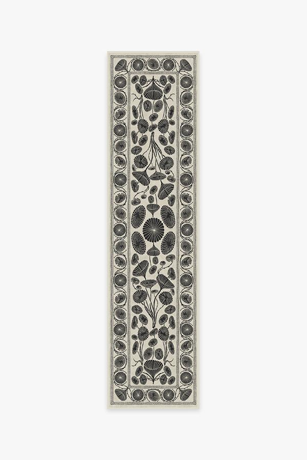Washable Rug Cover | Cynthia Rowley Suzani White Rug | Stain-Resistant | Ruggable | 2.5'x10'