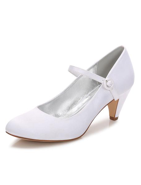 Milanoo Women Wedding Shoes White Kitten Heels Round Toe Mary Jane Shoes