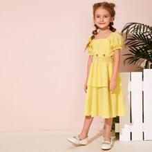 Kleinkind Maedchen Kleid mit Stickereien, mehrschichtiger Raffung und Karo Muster