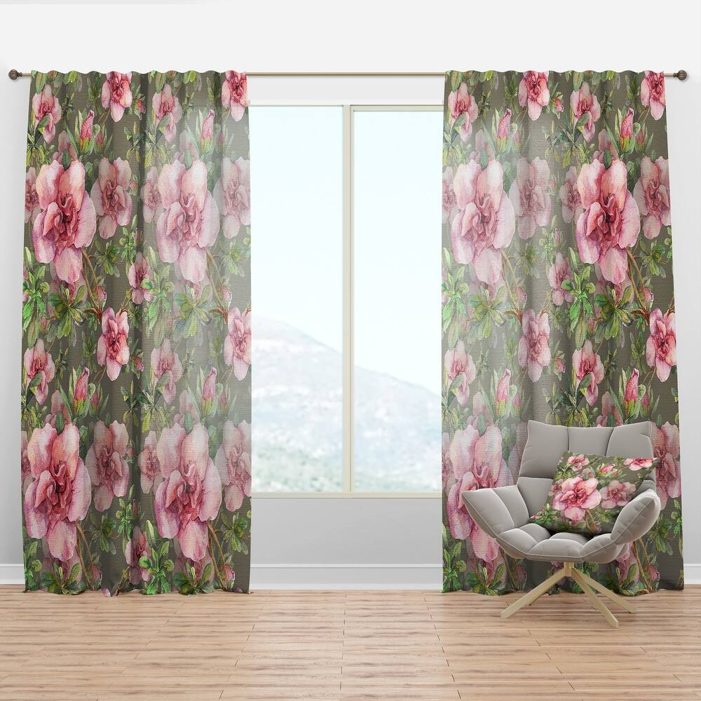 Designart 'Pink Blossoming Flower' Floral Curtain Panel (50 in. wide x 84 in. high - 1 Panel)