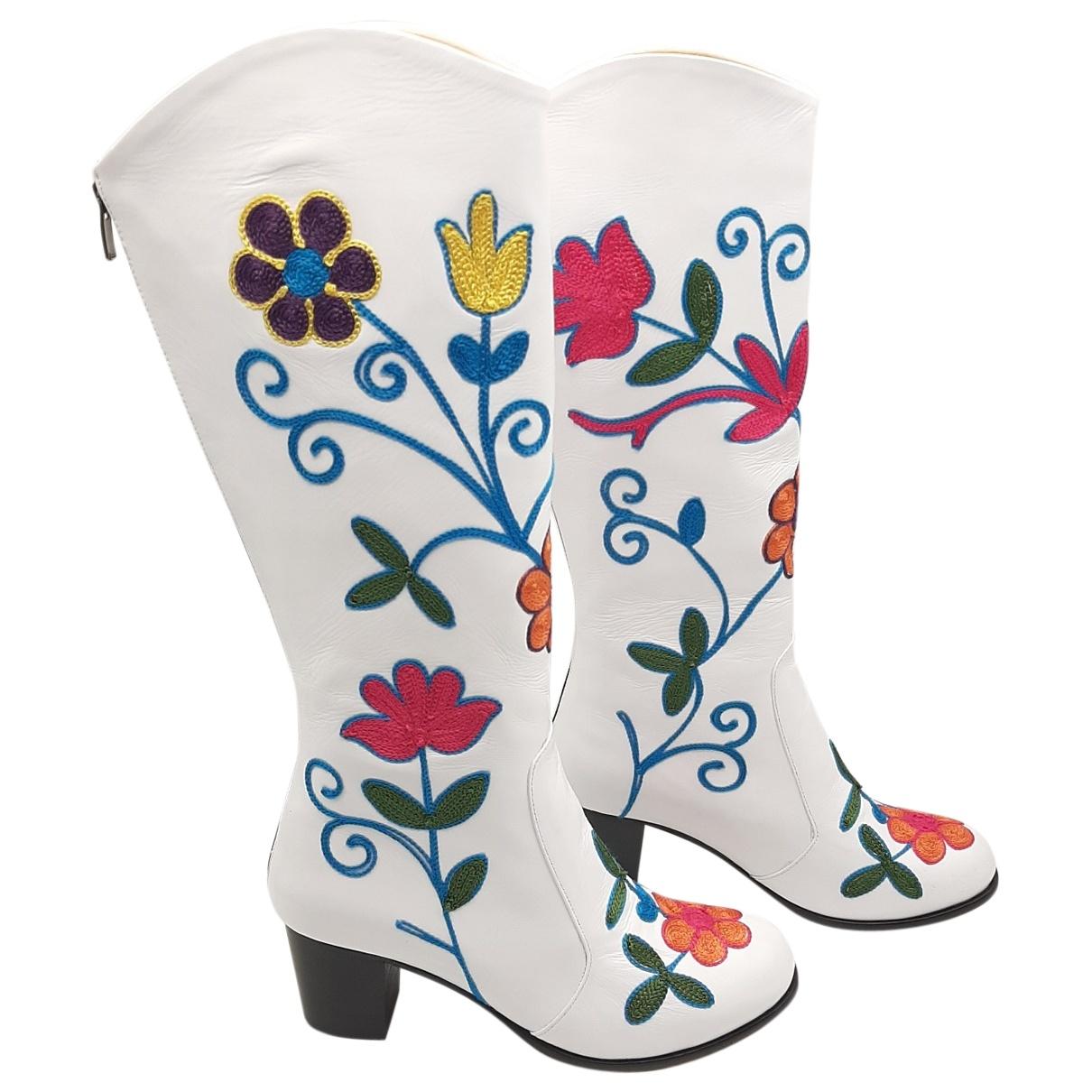 - Bottes Hippie Chic pour femme en cuir - blanc
