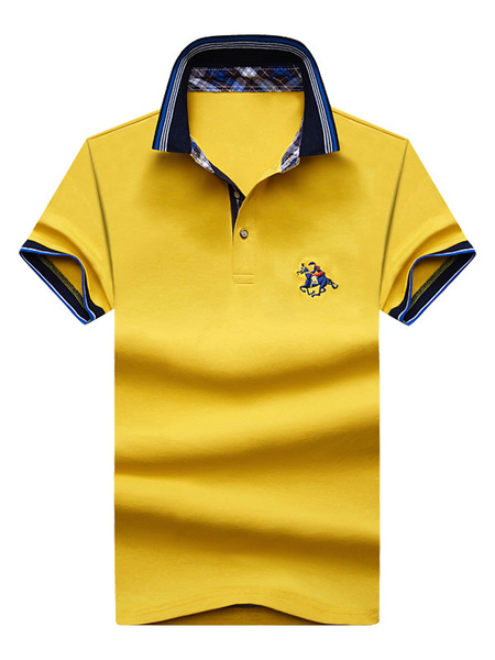 Milanoo Casual Polo Shirt Embroidery Turndown Collar Cotton Top For Men Short Sleeve T Shirt