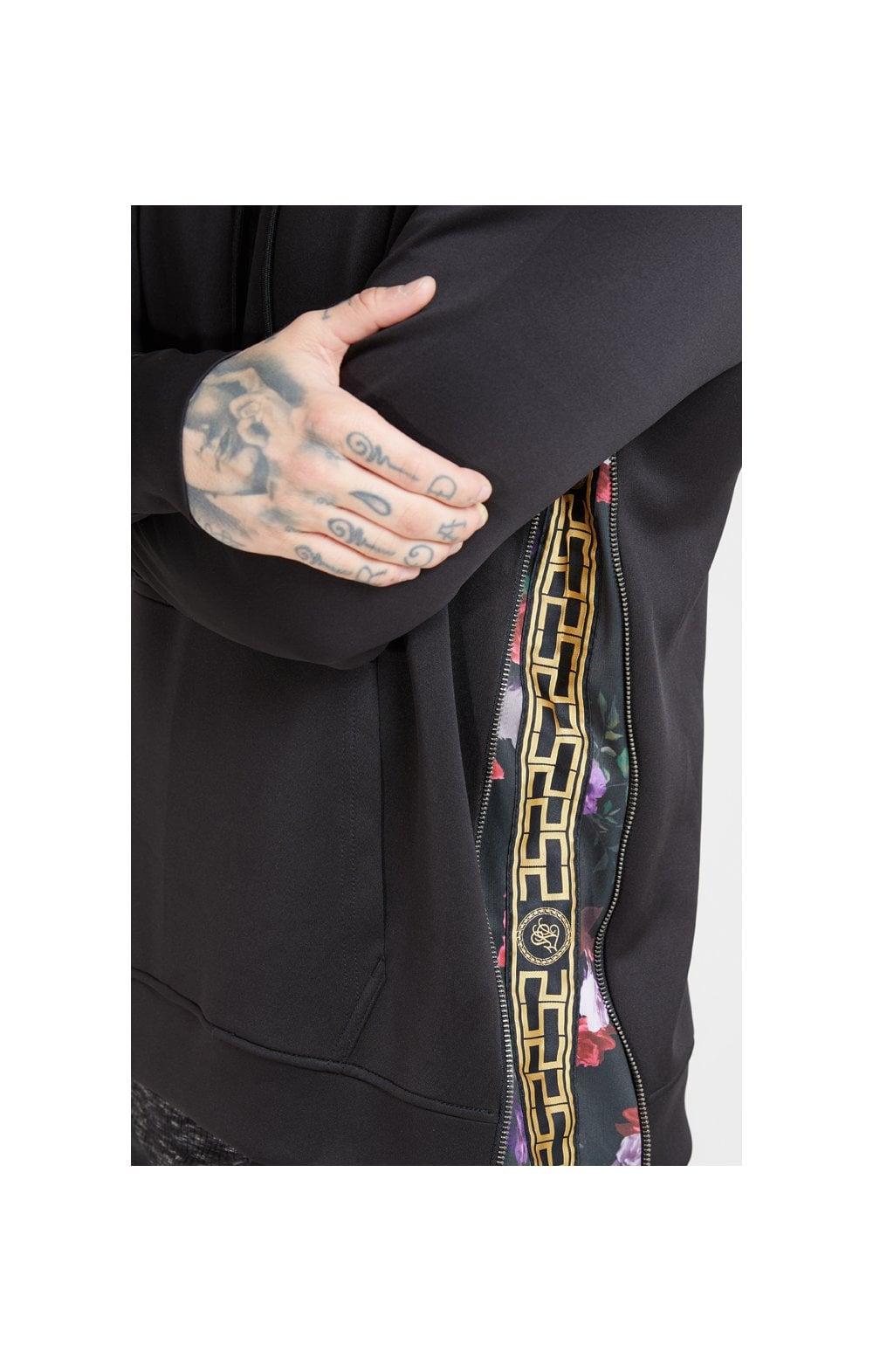 SikSilk Side Zip Tape Hybrid Hoodie - Black & Oil Paint MEN SIZES