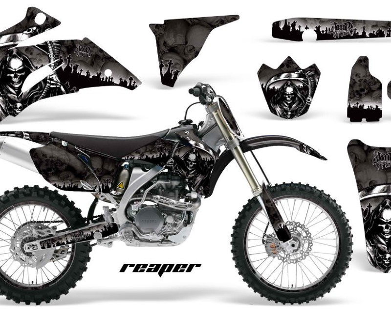 AMR Racing Graphics MX-NP-YAM-YZ250F-YZ450F-06-09-RP K Kit Decal Wrap + # Plates For Yamaha YZ250F YZ450F 2006-2009áREAPER BLACK