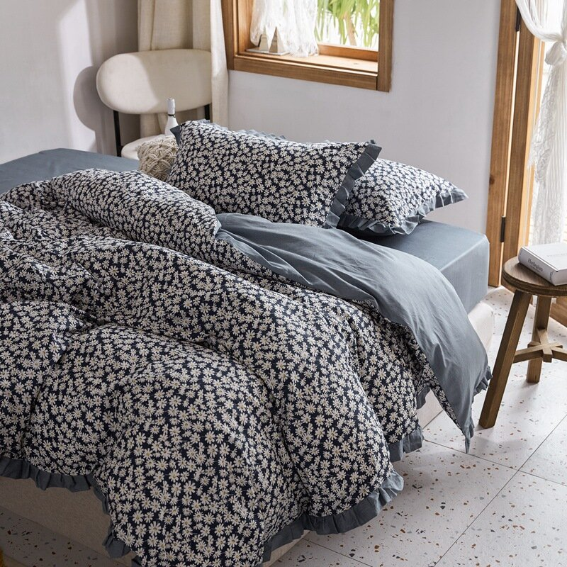 3/4 Pcs 100% Cotton Floral Small Daisy Cotton Set Of Rural American Pillowcase Bed Cover Bed Linen Set