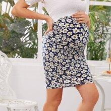 Maternidad falda ajustada de cintura alta con estampado de margarita
