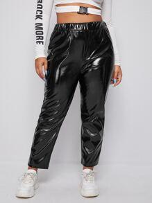 Plus High Waist PU Leather Pants