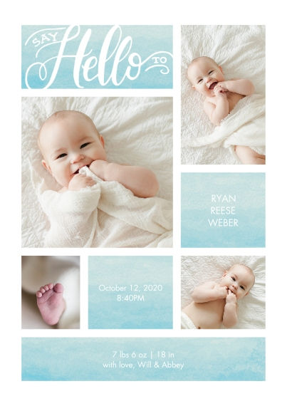 Baby Announcements 5x7 Cards, Standard Cardstock 85lb, Card & Stationery -Baby Watercolor Hello by Tumbalina