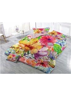 Excellent Watercolor Flower Wear-resistant Breathable High Quality 60s Cotton 4-Piece 3D Bedding Sets
