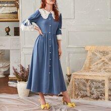 Kleid mit Kontrast Peter Pan Kragen und Schosschenaermeln