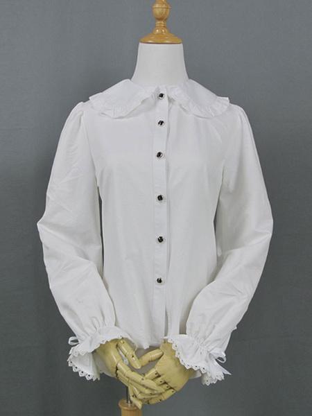 Milanoo Classic Lolita Shirt Frill Ruffle Peter Pan Collar White Lolita Top