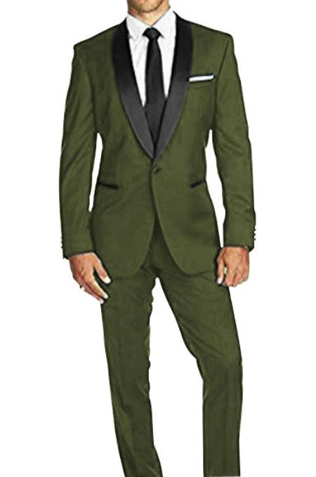 Braveman Mens Olive Green Satin Shawl Lapel Solid 1 Button Tuxedo Suit