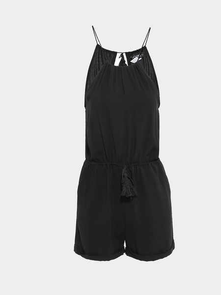 Yoins Black Cut Out Back Spaghetti Playsuit With Pockets