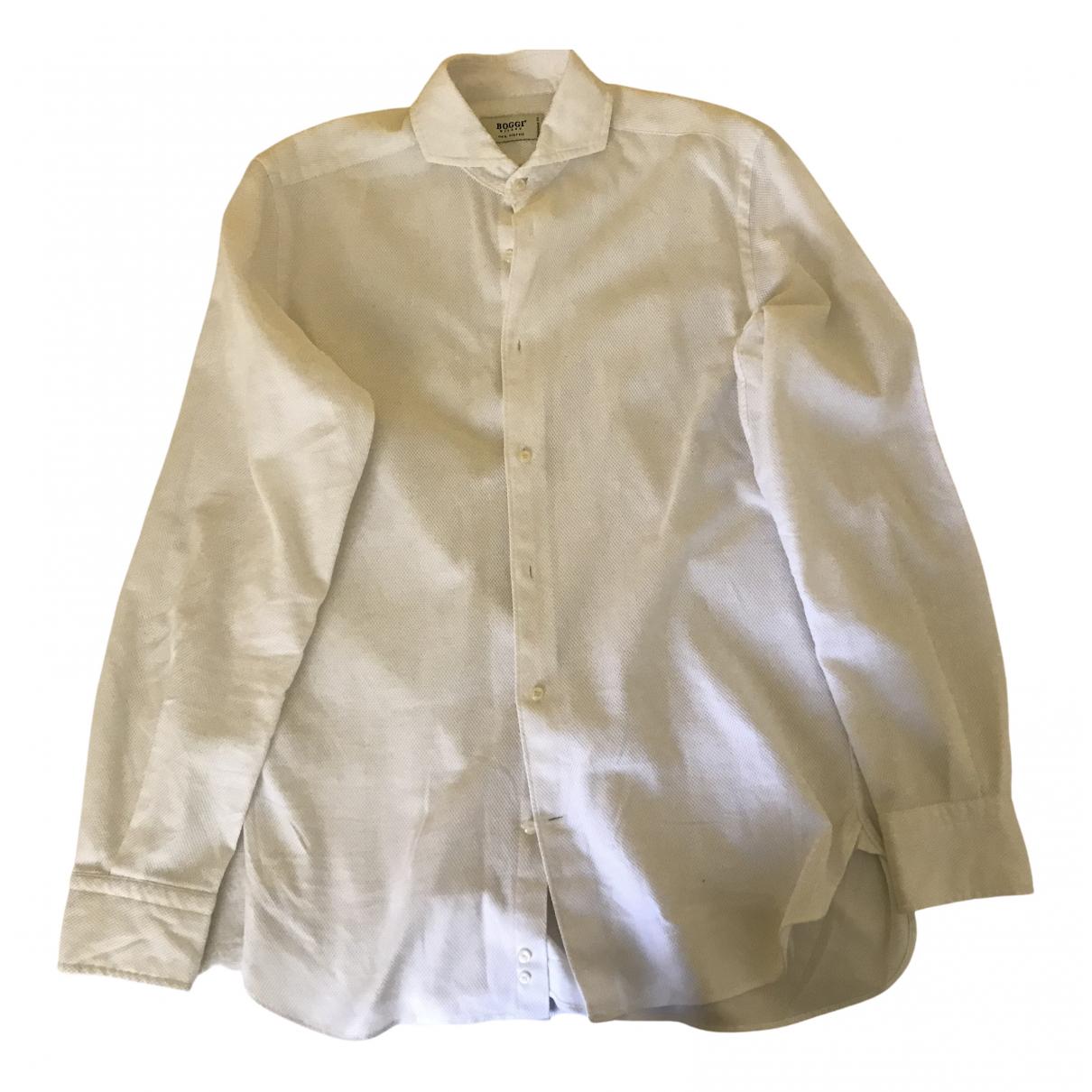 Boggi N White Cotton Shirts for Men M International